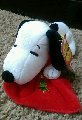 "Plush ""Celebrate Peanuts 60 Years"" 1990's Christmas Snoopy NWT"