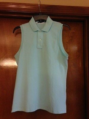 Ralph Lauren Women's Sleeveless Golf Shirt/Top  Aqua Size Medium NWT MSRP $85.00