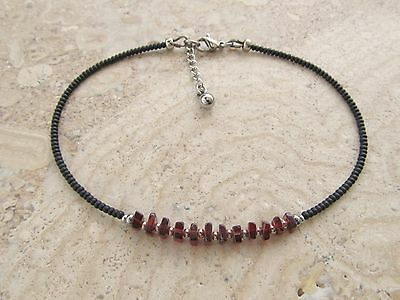 Garnet Stone Gemstone and Black Seed Bead Beaded Extension Anklet