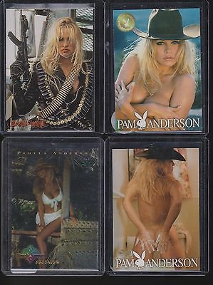 4 Card Lot Of Pam Anderson~ 2 Playboy 1 Benchwarmer 1 Movie All Near Mint To Min