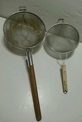 """Adcraft 10"""" & 12"""" Double Mesh Large Tinned Steel Strainer Heavy Duty Wood Handle"""