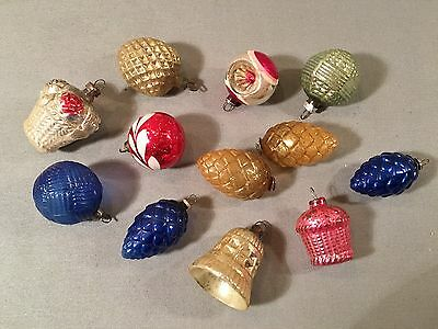 12 Vtg Figural Mini Christmas Tree Ornaments Pinecone Heart Bell Basket Indent