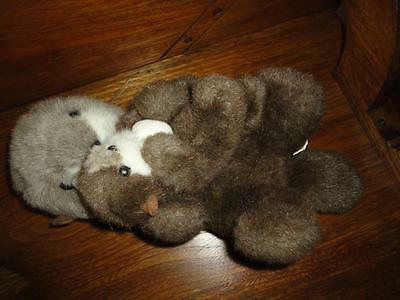 Vintage Sea Otter with Baby and Shell Stuffed Plush CUTE !