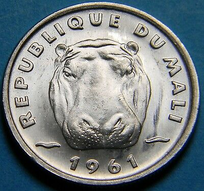 Africa Mali 1961 5 Francs Maliens Coin Hippo