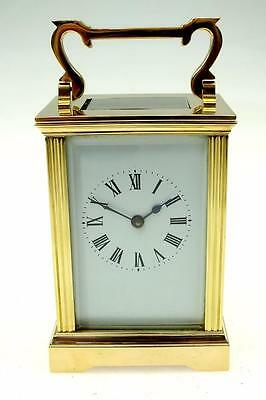 Vintage Small 8 Day French Small Bronze Carriage Mantel Clock Made In France