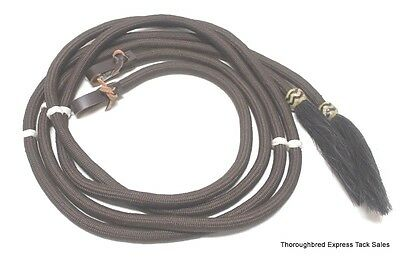 D.A. Brand 8' Brown Poly Braided Split Reins Horse Hair Ends Western Horse Tack
