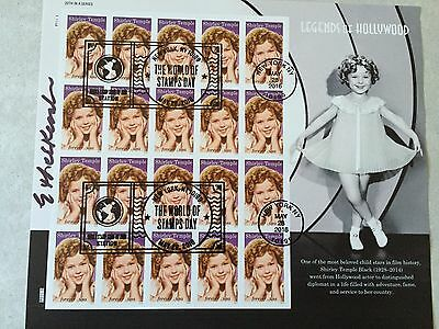 2016 Shirley Temple Stamp World Stamp Show Cancelled Full Pane of 20 *Signed*