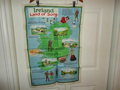 Vintage Made in Ireland Land of Song by Nelson Pure Linen Cloth 30x20inch