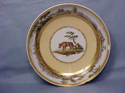 Early 1800's Porcelain French Soup Bowl - Fox? Coyote? with Landmarks