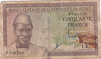 Guinee 1960 50 Francs #P798510. Foreign world currency