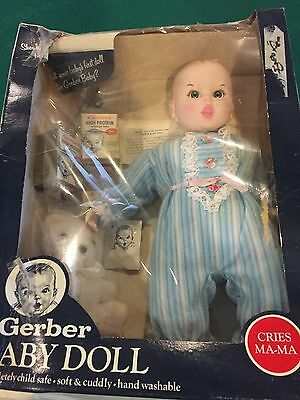 Vintage 1979 Gerber Baby Doll W/ Accessories New In Box Cries Mama Moving Eyes