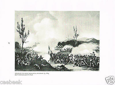 Attack On The Road To Bayonne, December 13, 1813 Antique Military Picture Print