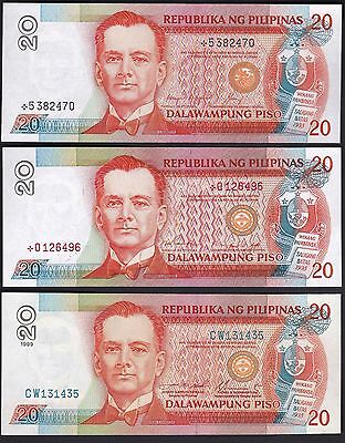 Philippines 20 Pesos Blue+ Replacement (Black and Red) 3 color Serial Number UNC