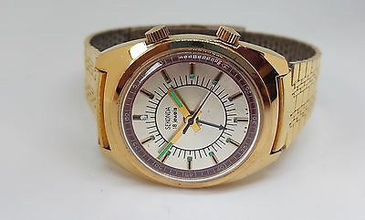 Nos Vintage Sekonda Alarm Gold Plated Silver Dial Man's Watch