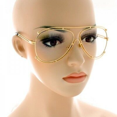 CLASSIC VINTAGE  RETRO Aviator Clear Lens Glasses Double Gold Frame Sunglasses