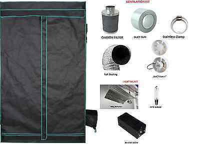 Hydroponics Greenhouse Grow Tent Dark Room 600D Silver Aluminum Mylar Kit Set