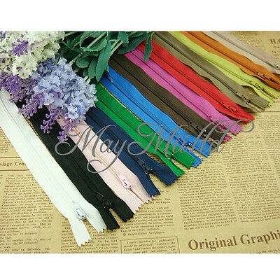 50 Assorted Dress Upholstery Craft Nylon Metal Closed Open Ended Zips Useful L ゃ