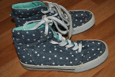 Girls Old Navy Denim and Stars High Top Shoes Size 4
