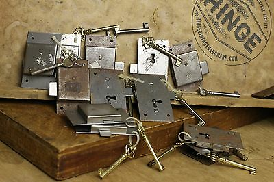 13 Vintage non Mortise surface mount Cabinet Locks and key sets Item291