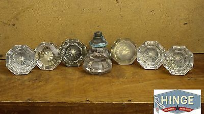 8 Antique Glass and Brass Patina, Cracked & Discolored Door Knobs Item498