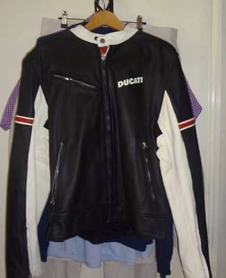Ducati Dainese Leather Jacket Black White Red Size 54