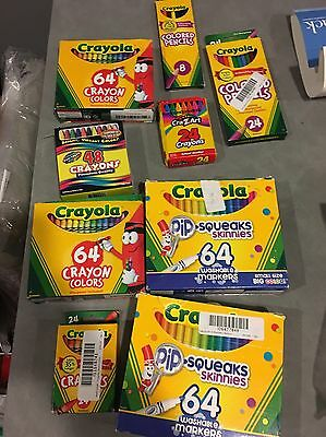 Lot of Markers Crayons & Colored Pencils Mostly Crayola 9 Packs