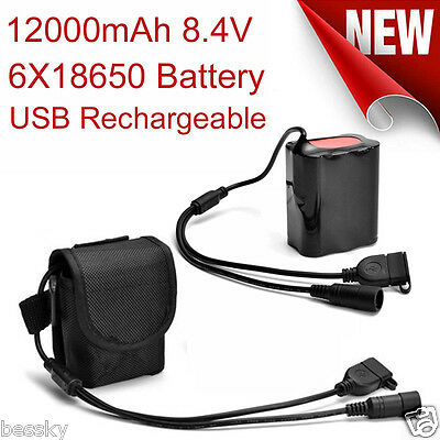 8.4V USB Rechargeable 12000mAh 6X18650 Battery Pack for Headlamp Bicycle Light f