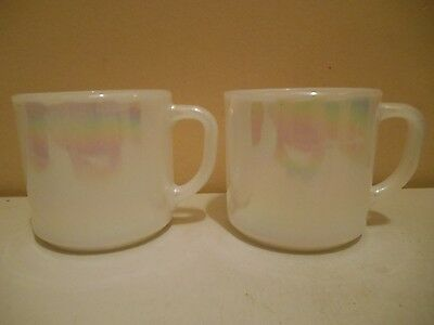 2 VINTAGE FEDERAL WHITE OPALESCENT GLASS MUGS in EXCELLENT CONDITION
