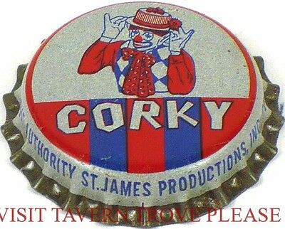 Unused 1950s Corky the Clown Soda Cork Crown St James Louis Missouri
