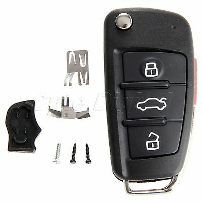 Key Shell Case For Audi A6 A4 A2 A8 TT Q7 3 Buttons Uncut Blade Replacement