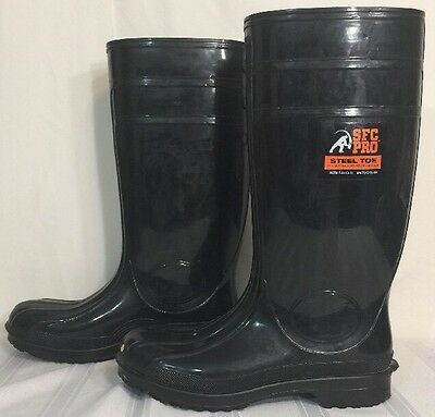 "Mens 12 Shoes For Crews SFC Pro Steel Toe 16"" Tall Black Rubber Boots Anti Slip"