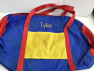 TYLER Color Block Duffle Bag Kids Tote Boys Girls Personalized Embroidered Name