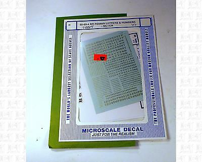 Microscale N Decals Alphabets Letters Numbers - Railroad Roman - Silver 70004