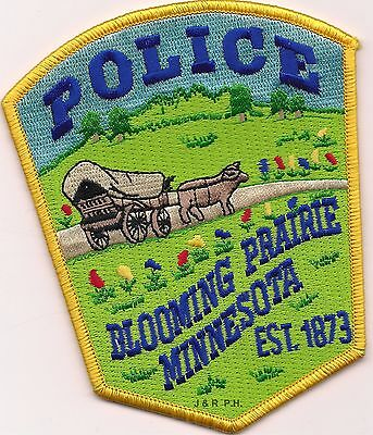 """*NEW*  Blooming Prairie - 1873, MN (4"""" x 4.75"""") shoulder police patch (fire)"""