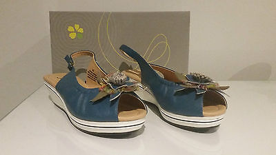 Jemma Floral Polly Sandal Blue - Leather - Size 40 Rrp $69.95