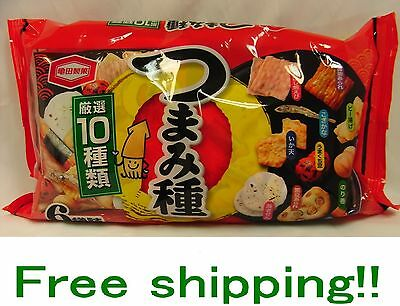 Japanese Rice Cracker Snack Kameda Tumami 10 Types 6 Pack Delicious F/s New!