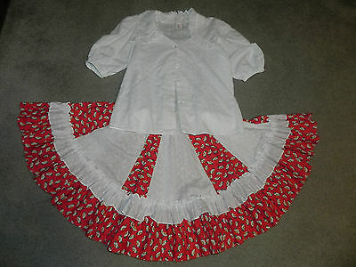 Malco Modes Red and White Squaredance Outfit Skirt and Shirt
