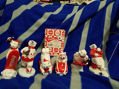 1995 Coca Cola Polar Bear Figurine Lot of 6