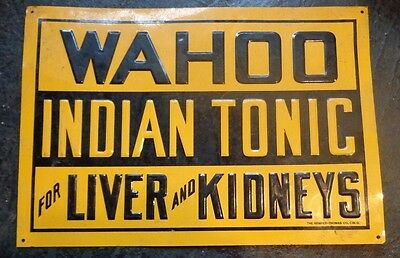 rare old embossed tin sign advertising Wahoo Indian Tonic