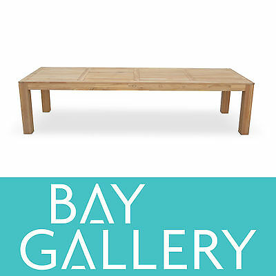 Large 3.3m Solid Teak Timber Outdoor Dining Table Wooden Deck Garden Furniture