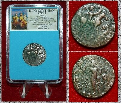 Ancient Indo-Scythian Coin Of Azes I King On Horseback Zeus On Reverse Bronze