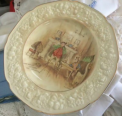 Vintage retro crown ducal plate x 2 'sam weller composes his valentine'