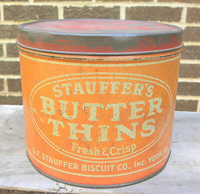 Vintage D.F. Stauffer's Biscuit Co. BUTTER THINS Cookie Cracker Tin Can-York, PA