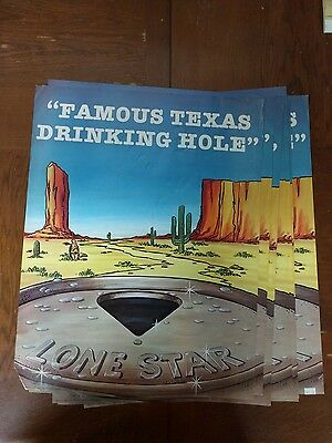 """1983 Lone Star Famous Texas Drinking Hole Beer Poster - 17 x 22"""" Western Decor"""