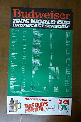 """1986 World Cup Broadcast Schedule Budweiser Beer Poster - 16x28"""" Sports Decor"""