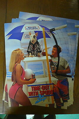 """1986 Spuds Mackenzie Time-Out Beach Vollyball Beer Poster - 17 x 22"""""""