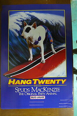 """1986 Spuds Mackenzie Dog Surfing Party Animal Beer Poster - 20 x 28"""" Bud Light"""