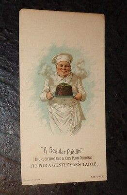 graphic Victorian trade card advertising Thurber Whyland Plum Pudding