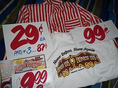 Old Unused Honest Ed's Store Uniform 60's Authentic Stamped + 3 Signs + Shirt