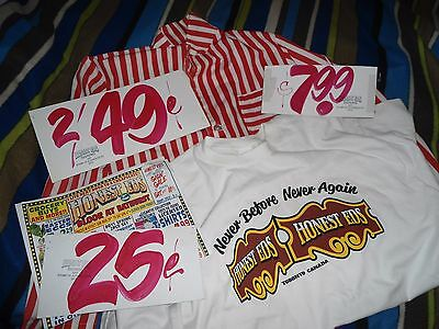 Old Unused Honest Ed's Store Uniform 60's Authentic Stamped + 3 Signs + Shirt +